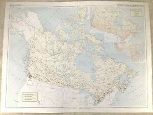 1957 Vintage Map of Canada Canadian Weather Stations Forecasting Meteorology
