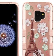 Samsung Galaxy S9 - Hybrid Armor Diamond Bling Case ROSE GOLD Paris Eiffel Tower