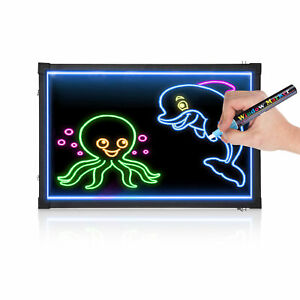 Remote LED Light Up Drawing Writing Board Sensory Play 40x60cm W/Highlighters