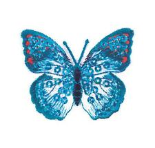 Sew On Motifs or Iron On Dresses Appliques Patches 4.8 cm -Blue Sequin Butterfly