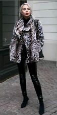 Zara Leopard Faux Fur Coat Double Breasted Size Small