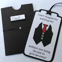 Personalised Wedding Tag And Wallet 'Will You Give Me Away?' Black & White.