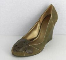 BCBG Generation women's shoes wedge heel suede green olive flowers size 8.5 B