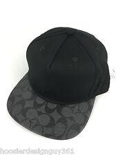 COACH F86476 Signature Flat Brim Cap Cotton Blend One Size Charcoal Black NWT