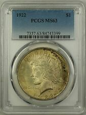 1922 Silver Peace Dollar $1 Coin PCGS MS-63 Toned (16d)