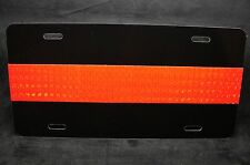 THIN RED LINE FIREFIGHTER METAL NOVELTY LICENSE PLATE FOR CARS (REFLECTIVE RED)