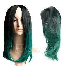 Women Short Straight Regular Wig Synthetic Hair Black And Dark Green