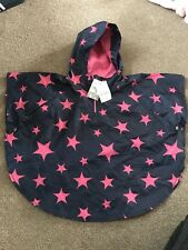 Girls Next Pacamac Rain Coat Navy Pink Stars 18 Months - 3 Years
