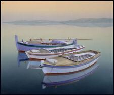 Boat paintings MOORED BOATS Coastal art beach house living rooms harbor art blue