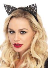 Leg Avenue Black Lace Headband  filigree cat ears Mask Cat Woman Fancy Dress