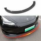 Fit Tesla Model 3 Carbon Fiber Front Bumper Lip Spoiler Accessories (Matte )