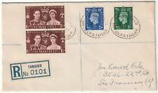 1937 Morocco Agencies British PO Tangier registered env KGVI 6d env->S Francisco