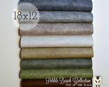 "PEBBLE BEACH Felt Collection, Merino Wool Blend Felt, EIGHT 12"" X 18"" Sheets"