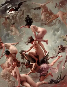 Oil painting luis ricardo falero - vision of faust nice nude girls Hand painted