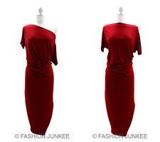 Fashion Junkee RED CALF Length DRESS Off the Shoulder Size : L