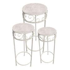 3er Set Metall Blumenhocker / Beistelltisch Tisch Blumen antikweiß rund