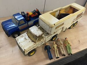 Vintage Tonka Fifth Wheeler Truck & XR101 Blue Truck With Action Figures