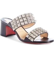 Christian Louboutin MYRIADIAM 55 Studded Slide Sandals Mules Heels Shoes $695