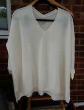 Pure Collection Cashmere Satin Cuff Sweater - Soft Cream - UK Size 20 RRP £199