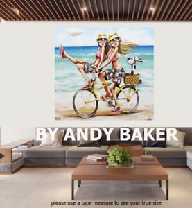 Original art painting print signed Andy Baker Beach Australia dinkin diane bike