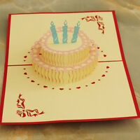 3D Pop Up Greeting Card Handcrafted Birthday Cake Candles Happy Birthday gift