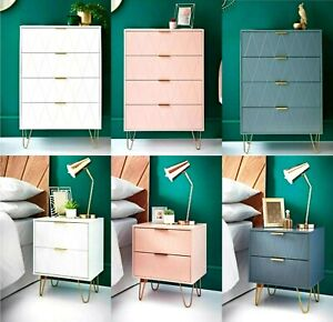 NEW 4 Drawer Chest & 2 Drawer Bedside Table With Gold Legs Bedroom Furniture