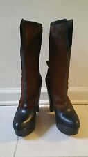 DEREK LAM Leather Cow Hair Platform Boots Brown Black Made in Italy