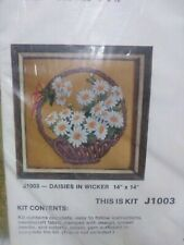 "Vintage 1975 Family Circle J1003 Daisies In Wicker 14"" X 14"" Crewel"