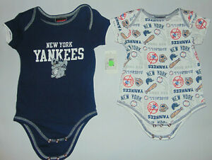 2) New York Yankees MLB Baseball Body Suits Shirts Snaps Sz 3/6 Months LOT NEW @