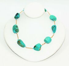 Turquoise 14kt Yellow Gold Statement Women's Necklace