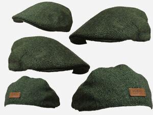GREEN COLOUR HERRINGBONE FLAT CAP,CLOTH CAP,GOLF CAP WINDSOR FLAT CAP FARMER,CAB