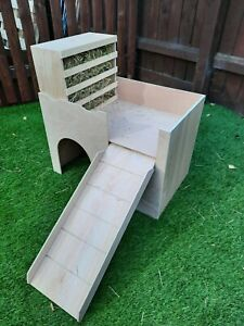UPDATED DESIGN. Large Rabbit Castle / shelter with easy fill removable hayrack