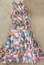 NWT $385 Nicole Miller artelier fruit multi color open back halter dress 0 XS