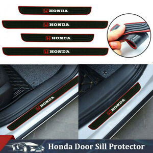 4PCS Black Rubber Car Door Sill Scuff Cover Panel Step Protector For Honda
