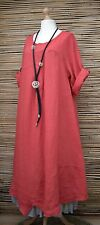 LAGENLOOK OVERSIZED LINEN AMAZING ASYMMETRICAL A-LINE DRESS*RED*BUST UP TO 50""