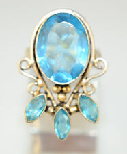 """SILVERPLATED 1.25"""" LONG RING w/ OVAL & MARQUISE SWISS BLUE GLASS STONES SIZE 6"""