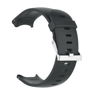 Silicone Wrist Band Strap & Silver Clasp for   Approach S3 Watch Black