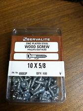 "WOOD SCREW 10 X 5/8"" PHILLIPS FLAT HEAD PACK OF 100 ZINC PLATED STEEL"