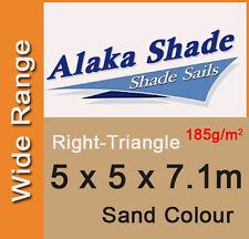 Heavy Duty Shade Sail - Sand Right Angle Triangle 5m x 5m x 7.1m, 5x5x7.1m