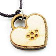 Hand Carved Canada Maple Wood Pendant Necklace Handmade beads fashion Heart New