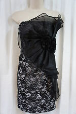 Betsy & Adam Dress Sz 14 Black White Strapless Cocktail Mini Floral Lace Evening