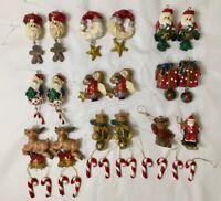 Lot of 30 Vintage 1990's Resin Mini Christmas Tree Ornaments Figures Miniature