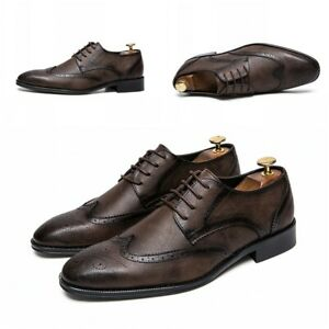 Mens Pointy Toe Wingtips Brogues British Business Formal Wedding Dress Club 47 L
