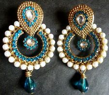 Indian Gold Plated Sky Blue Stone With Pearl Drop Drangler Earrings Set 23.