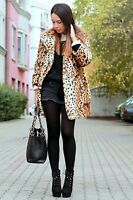BNWT TOPSHOP UK SIZE 8 FAUX FUR COAT LEOPARD ANIMAL PRINT JACKET WOMENS LADIES