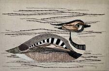 Vintage Duck Needlepoint Crochet Embroidery Folk Art Drift Wood Nautical Decor