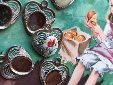 Vintage Heart Settings,Ornate Connectors Victorian,Oval Settings,Spun #997F