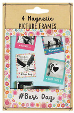 4 X Magnetic Picture Photo Frames Fridge Magnets Friends Best Day Memories Gift