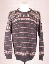 BOUVIAC Norway Mens Shetland Wool Nordic Jumper Sweater Grey Fair Isle XL