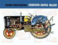 Vintage Fordson Super Major Cutaway Tractor Poster Brochure Art (A3)
